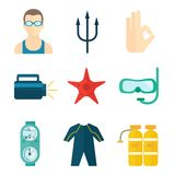 Diving icons flat Stock Photos