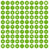 100 diving icons hexagon green. 100 diving icons set in green hexagon isolated vector illustration Royalty Free Stock Image