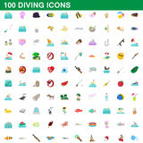 100 diving icons set, cartoon style. 100 diving icons set in cartoon style for any design vector illustration stock illustration