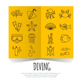 Diving icons set with fish and equipment on centerfold brochure Royalty Free Stock Photo