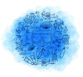 Diving icons set with fish and equipment Royalty Free Stock Photography