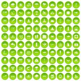 100 diving icons set green circle. Isolated on white background vector illustration Stock Images