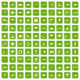 100 diving icons set grunge green. 100 diving icons set in grunge style green color isolated on white background vector illustration Royalty Free Stock Image
