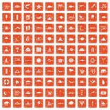 100 diving icons set grunge orange. 100 diving icons set in grunge style orange color isolated on white background vector illustration Royalty Free Stock Photos