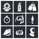 Diving icons set Royalty Free Stock Photo