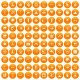 100 diving icons set orange. 100 diving icons set in orange circle isolated on white vector illustration Royalty Free Illustration