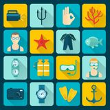 Diving Icons Set Stock Image