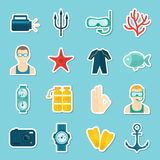 Diving Icons Set Royalty Free Stock Image