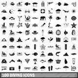 100 diving icons set, simple style Royalty Free Stock Images