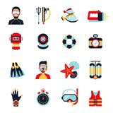 Diving Icons Set Stock Photos