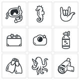 Diving icons set. Vector Illustration. Stock Photo