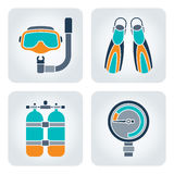 Diving icons set. Set of 4 vector mosaic diving equipment icons stock illustration