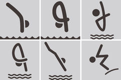 Diving icons. Summer sports icons set - diving icons Stock Image