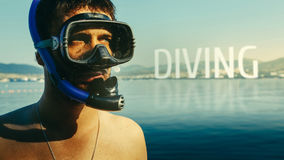 Diving, Inscription on the background of a portrait of a diver with a mask and snorkel. The concept of freediving, tourism and tra Royalty Free Stock Photos