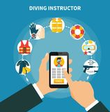 Diving Instructor Composition. With smartphone in male hands, scuba gear and safety equipment, hunting weapon vector illustration Royalty Free Stock Photography
