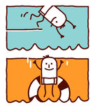 Diving & jumping in the water vector illustration