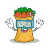 Diving kebab wrap character cartoon. Vector illustration vector illustration