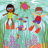 Diving kids. A vector illustration of diving kids Royalty Free Stock Image