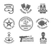 Diving label set Stock Photography