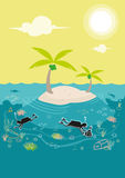 Diving lessons in a coral rich island. Editable Clip Art. Royalty Free Stock Photos