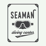 Diving logo, label in vintage style. Royalty Free Stock Photos
