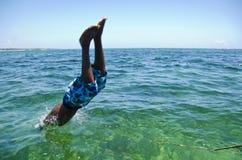 Diving man stock photo
