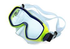 Diving mask. Yellow diving mask isolated on white background royalty free stock images
