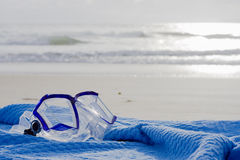 Diving mask on beach Royalty Free Stock Photos