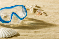 Diving mask on the beach Royalty Free Stock Image