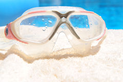 Diving mask by pool Royalty Free Stock Photo