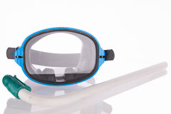 Diving mask and snorkel. Diving gear - diving goggles and snorkel,  on white Royalty Free Stock Images
