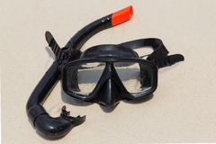 Diving mask and snorkel on the beach Stock Photo