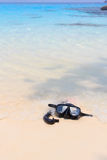 Diving mask and snorkel on the beach Stock Images