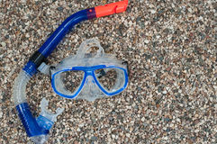 Diving mask with snorkel on beach Royalty Free Stock Images