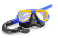 Diving mask and snorkel. Closeup of a blue, yellow and black diving mask and a snorkel on a white background Royalty Free Stock Photos