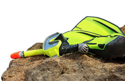 Diving mask, snorkel and flippers. Royalty Free Stock Image