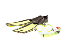 Diving mask, snorkel and flippers. On white background Royalty Free Stock Image