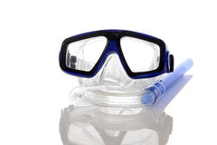Diving mask and snorkel. With white background Royalty Free Stock Photo