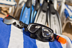 Diving mask and sunglasses Stock Photos