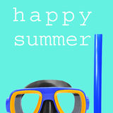 Diving mask and text happy summer Royalty Free Stock Image