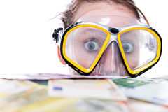 Diving in money Royalty Free Stock Photography