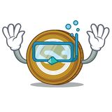 Diving Nxt coin character cartoon. Vector illustration Stock Images