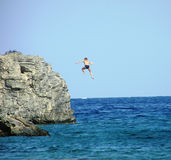 Diving off. A high cliff Stock Images