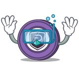 Diving Pivx coin character cartoon. Vector illustration Royalty Free Stock Photos