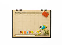 Diving planner schedule decorate with fish,turtle and camera Stock Photos