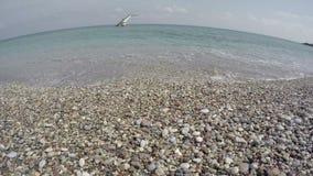Diving platform on Aegean sea and  empty resort beach, Rhodes, Greece.4K stock video