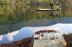Diving platform on Autumn lake Royalty Free Stock Photography