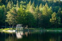 Diving platform at swim lake Royalty Free Stock Photography