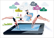 Diving Into A Pool Tablet. A boy and a girl diving at the same time into a pool with a digital tablet form. Near the side of the pool, a girl reads in a digital Royalty Free Stock Photography