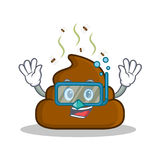 Diving Poop emoticon character cartoon. Vector illustration Stock Photos